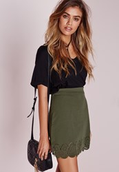Missguided Laser Cut A Line Mini Skirt Khaki Beige