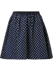 Guild Prime Polka Dot Pleated A Line Short Skirt Blue