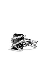 David Yurman Cable Wrap Ring With Black Onyx And Diamonds Silver