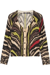 Just Cavalli Printed Wool Cardigan Black