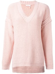 See By Chloe Knit V Neck Jumper Pink Purple