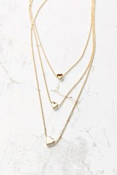 Urban Outfitters Triple Heart Necklace Gold