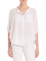 Splendid Rayon Voile Button Up Blouse Navy White