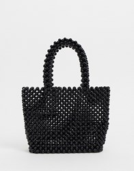 New Look Beaded Mini Tote In Black