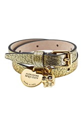 Alexander Mcqueen Double Wrap Leather Bracelet With Charms