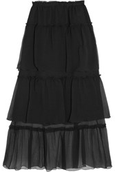 Sonia Rykiel Ruffled Tiered Silk Georgette Maxi Skirt Black
