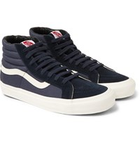 Vans Og Sk8 Hi Lx Leather Trimmed Suede And Canvas High Top Sneakers Navy