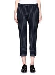 Victoria Beckham Pinstripe Wool Blend Cropped Pants Blue