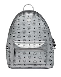 Mcm Stark Logo Visetos Backpack Silver
