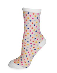 Kate Spade Dot Print Socks White