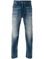 Diesel Distressed Tapered Jeans Men Cotton Polyester Spandex Elastane 30 Blue