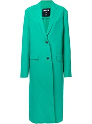 Msgm Single Breasted Coat Green