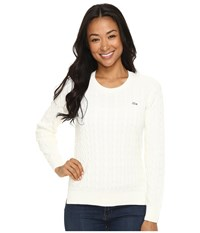 Lacoste Long Sleeve Cotton Cable Knit Crew Neck Sweater Cake Flour White Women's Sweater