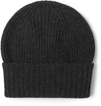 Dolce And Gabbana Ribbed Cashmere Beanie Dark Gray