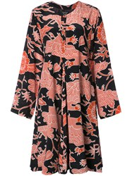 Creatures Of The Wind Bird Pattern Flared Dress Black
