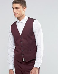 Selected Homme Waistcoat With Stretch In Slim Fit Burgundy Red