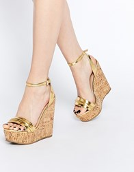 Asos Time Flies Two Part Wedges Gold