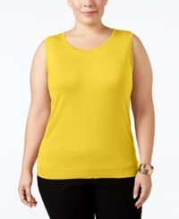 August Silk Plus Size Sleeveless Shell Loco Lemon