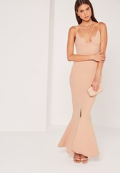 Missguided Split Front Strappy Fishtail Maxi Dress Nude Beige