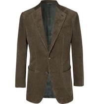 Thom Sweeney Army Green Slim Fit Cotton Corduroy Suit Jacket Green