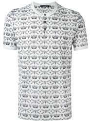 Dolce And Gabbana Crown And Bee Print Henley T Shirt White