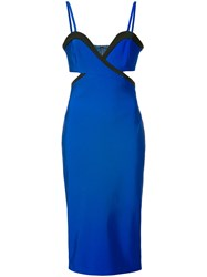 Thierry Mugler Cut Out Fitted Dress Women Polyamide Spandex Elastane Viscose 38 Blue