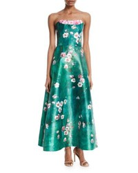 Theia Cherry Blossom Crumb Catcher Strapless Gown Spearmint