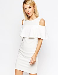 Club L Mini Dress With Cold Shoulder Frill Detail Cream
