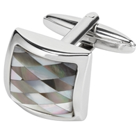 John Lewis Check Mother Of Pearl Cufflinks