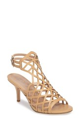 Charles By Charles David Women's Nadya Laser Cut Cage Sandal Nude Smooth Leather