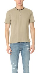 The Kooples Pique Tee With Faux Leather Detail Beige