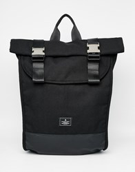 Asos Backpack In Black With Silver Clips Black