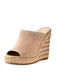 Prada Suede Wedge Espadrille Mule Sandal Neutral Pattern