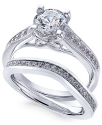 X3 Certified Diamond Bridal Set 1 3 4 Ct. T.W. In 18K White Gold