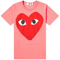 Comme Des Garcons Play 'S Red Heart Logo Tee Pink