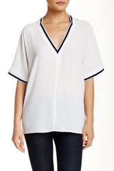 Zoa Stripe Trim V Neck Blouse White
