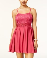 Amy Byer Bcx Juniors' Glitter Lace Fit And Flare Dress Pink