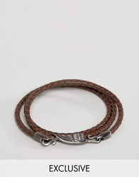 Simon Carter Brown Leather Wing Wrap Bracelet Exclusive To Asos Brown