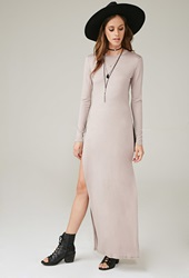 Forever 21 Marina T High Slit Maxi Dress Taupe