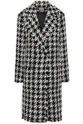 Joie Woman Double Breasted Houndstooth Jacquard Coat Black
