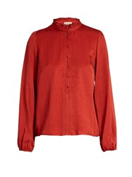 Sea Ruffled Satin Blouse Red