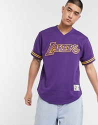 Mitchell And Ness La Lakers Championship Game Mesh V Neck In Purple
