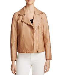 Bagatelle Trapunto Quilted Faux Leather Moto Jacket Tan