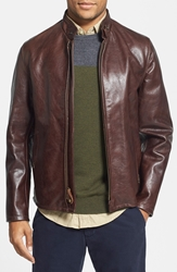 Schott Nyc 'Cafe Racer' Leather Jacket Brown