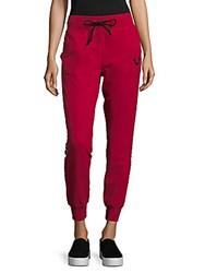 True Religion Two Tone Jogger Pants Ruby Red