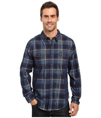 True Grit Vintage Plaid Canyon Malibu Cord Long Sleeve Two Pocket Shirt With Stitch Blue Men's Clothing