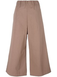 Water Elasticated Waistband Flared Trousers Nude Neutrals