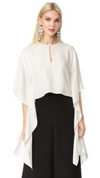 Monique Lhuillier Flutter Sleeve Top Silk White