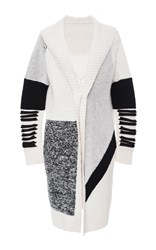 Prabal Gurung Black Oversized Shawl Collar Chunky Knit Cashmere Cardigan