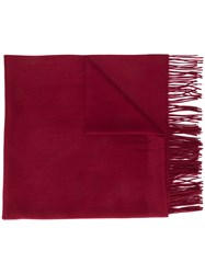 N.Peal Oversized Fringed Scarf Red
